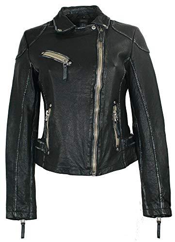 Gipsy – Damen Lederjacke Bikerjacke Lammnappa schwarz Größe M - 2