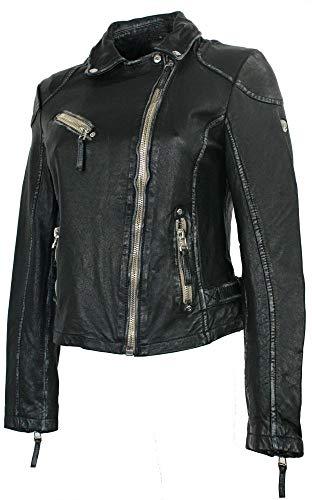 Gipsy – Damen Lederjacke Bikerjacke Lammnappa schwarz Größe M - 3