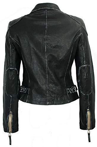 Gipsy – Damen Lederjacke Bikerjacke Lammnappa schwarz Größe M - 4