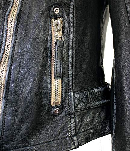Gipsy – Damen Lederjacke Bikerjacke Lammnappa schwarz Größe M - 5