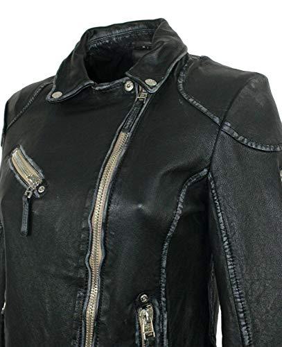 Gipsy – Damen Lederjacke Bikerjacke Lammnappa schwarz Größe M - 6
