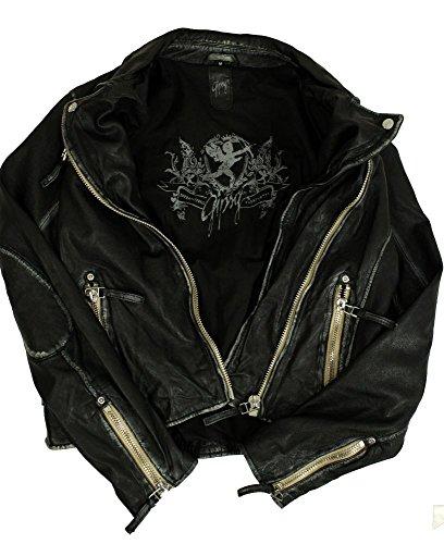 Gipsy – Damen Lederjacke Bikerjacke Lammnappa schwarz Größe M - 7