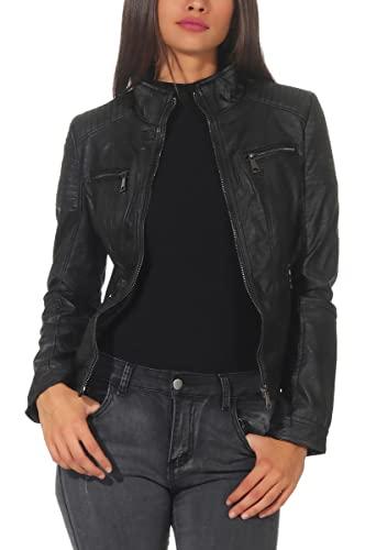 Malito Damen Jacke | Kunstleder Jacke | Jacke mit Zipper | lässige Bikerjacke - Sakko - Jackett 5179 (XXL, schwarz)