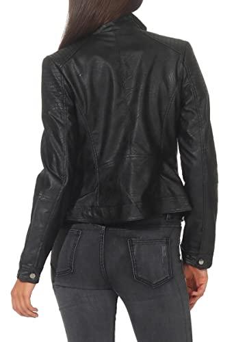 Malito Damen Jacke | Kunstleder Jacke | Jacke mit Zipper | lässige Bikerjacke – Sakko – Jackett 5179 (XXL, schwarz) - 3