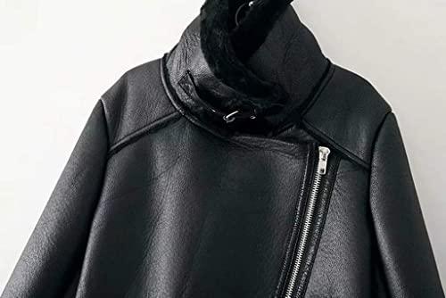 Newbestyle Damen Bikerjacke Pilotenjacke Lederjacke mit Fell Top Coat mit Schrägem Reißverschluss (M, Schwarz) - 4