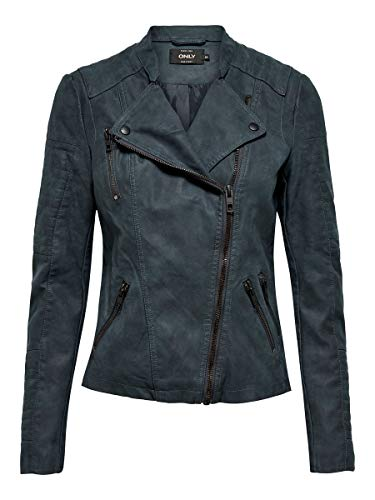 ONLY NOS Damen Jacke onlAVA FAUX LEATHER BIKER OTW NOOS,Blau (Dark Navy Dark Navy),36