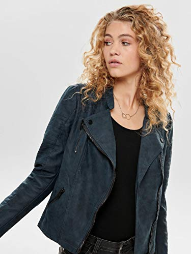 ONLY NOS Damen Jacke onlAVA FAUX LEATHER BIKER OTW NOOS,Blau (Dark Navy Dark Navy),36 - 6