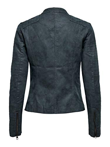 ONLY NOS Damen Jacke onlAVA FAUX LEATHER BIKER OTW NOOS,Blau (Dark Navy Dark Navy),36 - 5