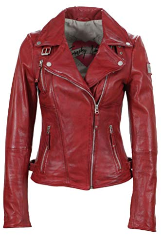 Freaky Nation Damen Jacke Biker Princess Echtleder, Schwarz (Shadow 9015)