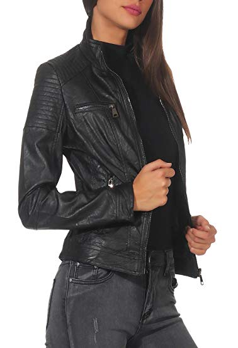 Malito Damen Jacke | Kunstleder Jacke | Jacke mit Zipper | lässige Bikerjacke – Sakko – Jackett 5179 (schwarz, M) - 2