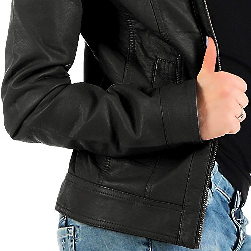ONLY Damen Bandit PU Biker Jacke, Schwarz (Black C-N10) - 5