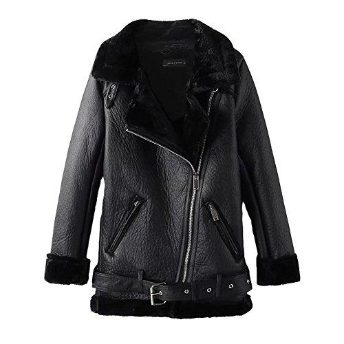 Newbestyle Jacke Damen Übergangsjacken V Ausschnitt Kleidung Mantel Fell Winterjacke Jacket Wintermantel Top Coat mit Schrägem Reißverschluss Schwarz X-Small