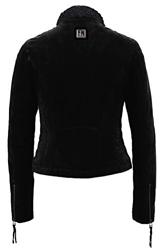 Freaky Nation Damen Jacke Teddy Star Echtleder,  Schwarz (Black/Black 2001),  X-Large - 2