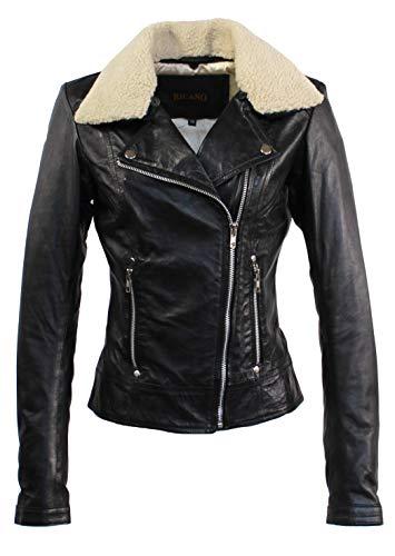 RICANO Suzana, Damen Lederjacke (Slim fit) aus echtem Lamm Nappa Leder (Glattleder) in schwarz mit Fellkragen (Teddyfell oder schwarzes Fell)