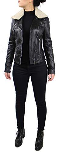 RICANO Suzana, Damen Lederjacke (Slim fit) aus echtem Lamm Nappa Leder (Glattleder) in schwarz mit Fellkragen (Teddyfell oder schwarzes Fell) (Schwarz - Teddyfell, XL) - 3