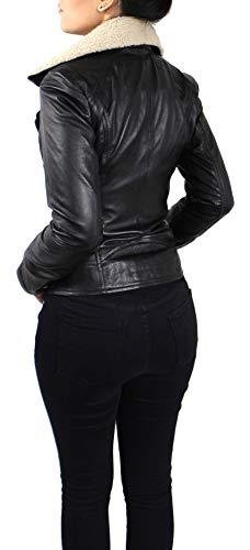 RICANO Suzana, Damen Lederjacke (Slim fit) aus echtem Lamm Nappa Leder (Glattleder) in schwarz mit Fellkragen (Teddyfell oder schwarzes Fell) (Schwarz - Teddyfell, M) - 4