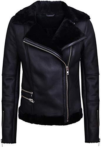 Infinity Leather Schwarze Lammfell-Bikerjacke Aus Lammleder für Damen