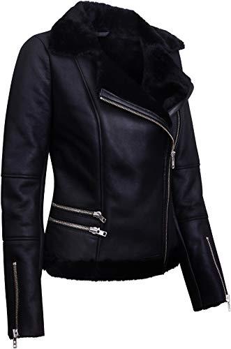 Infinity Leather Schwarze Lammfell-Bikerjacke Aus Lammleder für Damen M - 4