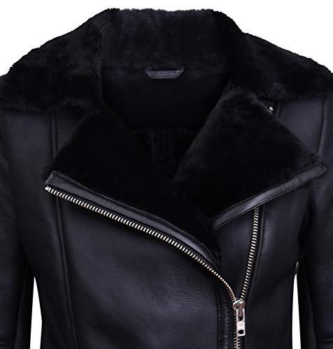 Infinity Leather Schwarze Lammfell-Bikerjacke Aus Lammleder für Damen M - 2