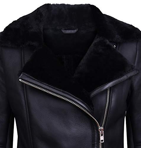 Infinity Leather Schwarze Lammfell-Bikerjacke Aus Lammleder für Damen M - 3