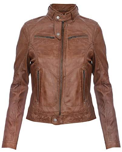 Infinity Leather Damen Echtes 100% Leder Kastanienbraun Klassische Brando Bikerjacke