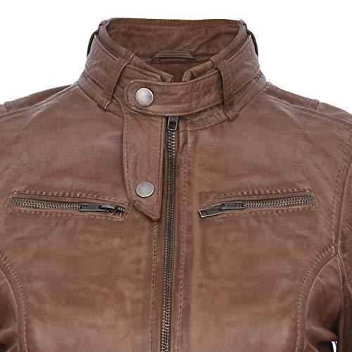 Infinity Leather Damen Echtes 100% Leder Kastanienbraun Klassische Brando Bikerjacke L - 4