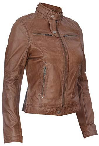 Infinity Leather Damen Echtes 100% Leder Kastanienbraun Klassische Brando Bikerjacke L - 2