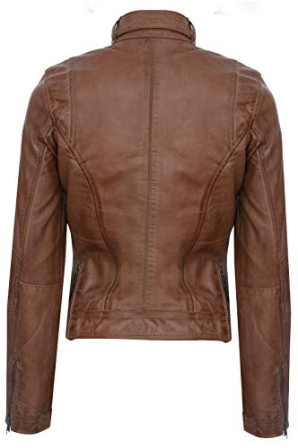 Infinity Leather Damen Echtes 100% Leder Kastanienbraun Klassische Brando Bikerjacke L - 3