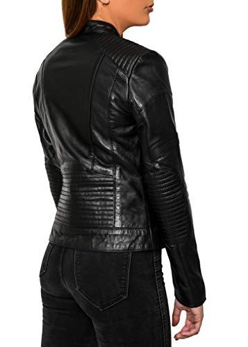 Crone Minerva Damen Biker Lederjacke Cleanes Design weiches Schafs-Leder (M, Schwarz) - 7