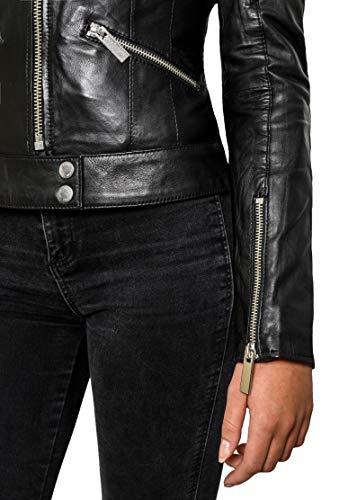 Crone Minerva Damen Biker Lederjacke Cleanes Design weiches Schafs-Leder (M, Schwarz) - 3
