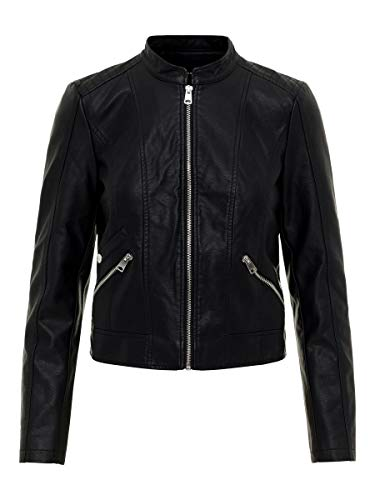 VERO MODA Damen VMKHLOE FAVO Faux Leather Jacket NOOS Jacke, Schwarz (Black)