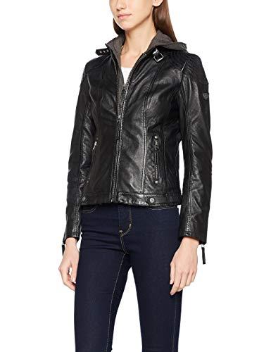 Damen Lederjacke von Gipsy mit Kapuze in Schwarz aus Echtleder