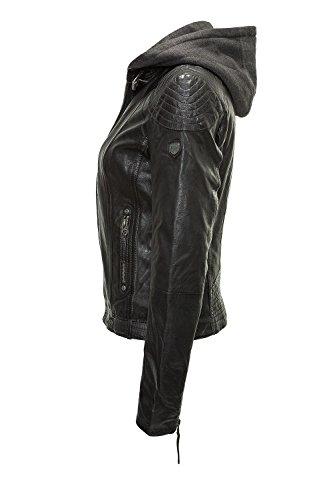 Gipsy Damen Lederjacke mit Kapuze im Biker Look Schwarz, XL - 3