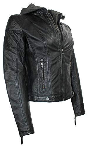 Gipsy – Damen Lederjacke Kapuze Lammnappa schwarz Größe M - 2