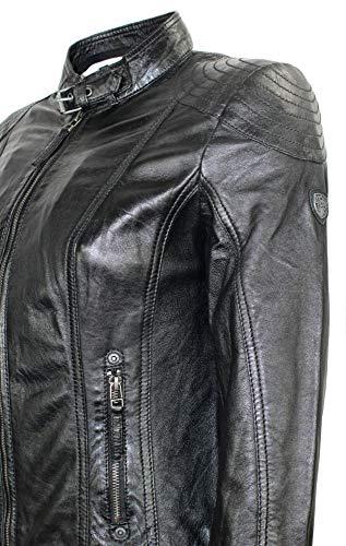 Gipsy – Damen Lederjacke Kapuze Lammnappa schwarz Größe M - 6
